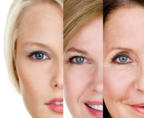 Lão hóa biểu hiện rõ rệt trên gương mặt